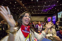 Detroit, Michigan, SEIU convention delegate cheering a speaker - Jim West - 2010s,2016,America,american,americans,applauding,applause,cheer,cheering,conference,conferences,convention,delegate,delegates,Detroit,FEMALE,meeting,MEETINGS,member,member members,members,Michigan,peo