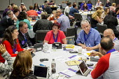 Detroit, Michigan, SEIU convention delegates in discussion at a meeting of the unions Canadian division - Jim West - 20-05-2016