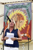 Liz Snape TUC President speaking Tolpuddle Martyrs' Festival 2016. Dorset. - Jess Hurd - 2010s,2016,ACE,Agricultural workers union,AWU,banner,banners,Dorset,FEMALE,Festival,FESTIVALS,Liz Snape,member,member members,members,PEOPLE,person,persons,President,SPEAKER,SPEAKERS,speaking,SPEECH,S