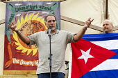 Freed Miami 5 speaking Tolpuddle Martyrs' Festival 2016, Dorset - Jess Hurd - 2010s,2016,ACE,Agricultural workers union,AWU,banner,banners,campaign,campaigning,CAMPAIGNS,cuban,cubans,Dorset,Festival,FESTIVALS,flag,flags,member,member members,members,PEOPLE,Solidarity,SPEAKER,SP