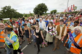 Jeremy Corbyn, family and supporters with wreaths in memory of the martyrs, Tolpuddle Martyrs' Festival 2016. Dorset. - Jess Hurd - 17-07-2016