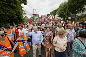 Jeremy Corbyn, Maxine Peake and Miami 5 joining procession at Tolpuddle Martyrs' Festival 2016. Dorset. - Jess Hurd - 2010s,2016,ACE,banner,banners,child,CHILDHOOD,children,Dorset,female,females,Festival,FESTIVALS,girl,girls,Jeremy Corbyn,juvenile,juveniles,kid,kids,Labour Party,Maxine Peake,member,member members,mem