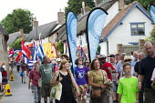 Prospect marching Tolpuddle Martyrs' Festival 2016. Dorset. - Jess Hurd - 2010s,2016,ACE,banner,banners,Dorset,FEMALE,Festival,FESTIVALS,marching,member,member members,members,PEOPLE,person,persons,Prospect,SWTUC,Tolpuddle Martyrs festival,Tolpuddle Martyrs' Festival,trade
