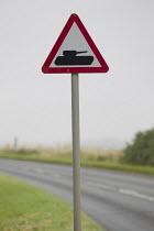Traffic sign with tank near Porton Down, Salisbury, Wiltshire. - Jess Hurd - 16-07-2007