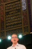 Owen Smith MP speaking at a campaign rally to become Leader of the Labour Party, Emmanuel Centre, Westminster, London - Stefano Cagnoni - 2010s,2016,Bible,biblical quotation,biblical quote,biblical quotes,campaign,campaigning,CAMPAIGNS,faith,John 10,Labour Party,Leader,leadership,London,MP,MPs,Owen Smith,Party,POL,political,politician,p