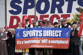 Unite campaign against Victorian work practices at Sports Direct, Shirebrook. A Workhouse not a workplace - John Harris - Trades Union,2010s,2015,activist,activists,against,Agency Workers,banner,banner banners,banners,campaign,campaign campaigning,campaigner,campaigners,campaigning,CAMPAIGNS,contracts,DEMONSTRATING,Demon
