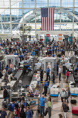 Denver, Colorado, Security screening of passengers Denver International Airport, security screening area Jeppesen Terminal - Jim West - 06-07-2016