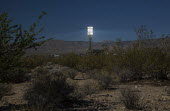 San Bernardino County, California, Ivanpah Solar Project, NRG Energy, a thermal electric generating facility, Mojave Desert. 173,500 heliostats, sets of mirrors, focus sunlight on three towers where w... - Jim West - 2010s,2016,alternative energy,alternative power,America,Brightsource,California,concentrating solar power,csp,desert,dusk,EBF,Economic,Economy,electric,ELECTRICAL,electricity,energy,eni,environment,en