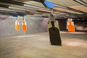 Las Vegas, Nevada - Targets at the Discount Firearms + Ammo indoor shooting range. - Jim West - 2010s,2016,firearm,firearms,firing range,gun,gun control,guns,handgun,handguns,hobbies,hobby,hobbyist,indoor,indoors,inside,Las Vegas,Leisure,LFL,LIFE,Nevada,PEOPLE,personal protection,pistol,pistols,
