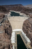 Las Vegas, Nevada, drought at the Hoover Dam and Lake Mead. The white ring indicates the water level when the reservoir was full. Lake Mead has fallen 150 feet and is now at 37% of capacity due to dro... - Jim West - 2010s,2016,arid,climate change,dam,desert,DIA,drought,droughts,dry,EBF,Economic,Economy,ELECTRICAL,electricity,energy,Environmental degradation,fallen,Global Warming,green,Hoover Dam,hydroelectric,Hyd