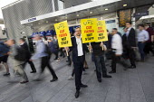 Action For Rail protest against rail fare rises and calling for public ownership, London Bridge Station, London. James Croy, RMT - Jess Hurd - 16-08-2016