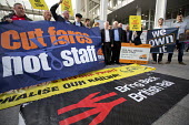 Jeremy Corbyn joins Action For Rail protest against rail fare rises and for public ownership, London Bridge Station, London. Cut Fares not Staff - Jess Hurd - 16-08-2016