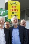 Jeremy Corbyn joining Action For Rail protest against rail fare rises and for public ownership, London Bridge Station, London. Cut Fares not Staff, Andy McDonald MP, Jeremy Corbyn and Mick Whelan ASLE... - Jess Hurd - 16-08-2016