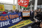 Jeremy Corbyn joining Action For Rail protest against rail fare rises and for public ownership, London Bridge Station, London. Cut Fares not Staff, Andy McDonald MP, Jeremy Corbyn, Mick Whelan ASLEF,... - Jess Hurd - 16-08-2016