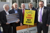 Jeremy Corbyn joining Action For Rail protest against rail fare rises and for public ownership, London Bridge Station, London.. Cut Fares not Staff, Andy McDonald MP, Jeremy Corbyn, Mick Whelan ASLEF,... - Jess Hurd - 16-08-2016