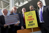 Jeremy Corbyn joining Action For Rail protest against rail fare rises and for public ownership, London Bridge Station, London. Cut Fares not Staff. Andy McDonald MP, Jeremy Corbyn, Mick Whelan ASLEF,... - Jess Hurd - 16-08-2016