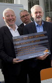 Jeremy Corbyn joining Action For Rail protest against rail fare rises and for public ownership, London Bridge Station, London. Cut Fares not Staff. Andy McDonald MP and Jeremy Corbyn - Jess Hurd - 16-08-2016