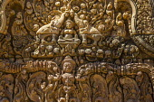 Cambodia, carving at Banteay Srei temple - David Bacon - 2010s,2015,ACE,Angkor Wat,architecture,Arts,artwork,Asia,asian,asians,Banteay Srei,buddha,Buddhism,buddhist,buddhists,buildings,Cambodia,Cambodian,Cambodians,carved,carving,carvings,Culture,Hindu,hind