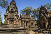 Cambodia, Banteay Srei temple - David Bacon - 2010s,2015,Angkor Wat,architecture,artwork,Asia,asian,asians,Banteay Srei,buddha,Buddhism,buddhist,buddhists,buildings,Cambodia,Cambodian,Cambodians,carved,carving,carvings,Hindu,hinduism,Hindus,Khmer