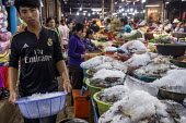Siem Reap, Cambodia, workers in the market - David Bacon - 2010s,2015,Asia,asian,asians,buy,buyer,buyers,Cambodia,cambodian,cambodians,crab,EBF,Economic,Economy,employee,employees,Employment,FEMALE,fish,fishes,fishmonger,fishmongers,food,FOODS,ice,job,jobs,Kh