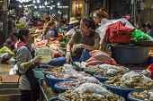 Siem Reap, Cambodia, workers in the market, fishmongers enjoying a joke. - David Bacon - 2010s,2015,Asia,asian,asians,buy,buyer,buyers,Cambodia,cambodian,cambodians,crab,EBF,Economic,Economy,employee,employees,Employment,enjoying,ENJOYMENT,FEMALE,fish,fishes,fishmonger,fishmongers,food,FO