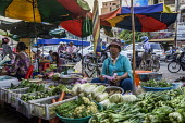 Battambang, Cambodia, Phsar Nath Market, selling vegetables at a street stall - David Bacon - 2010s,2015,Asia,asian,asians,Battambang,Cambodia,cambodian,cambodians,cities,City,EARNINGS,EBF,Economic,Economy,employee,employees,Employment,FEMALE,food,FOODS,fruit,FRUITS,Income,inequality,job,jobs,