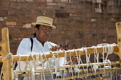 Ganado, Arizona, Navajo Nation, a Navajo blanket loom, Wool and Weaving Workshop, Hubbell Trading Post National Historic Site - Jim West - 10-07-2016