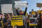 Detroit, Michigan - About a dozen Donald Trump supporters mixed with several hundred against an appearance by Republican Presidential candidate Donald Trump at the Detroit Economic Club, Build the Wal... - Jim West - 08-08-2016