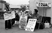 Women at TRICO on strike for Equal Pay picketing, Brentford, London, 1976 - Chris Davies - 1970s,1976,at,AUEW,campaign,campaigning,CAMPAIGNS,communicating,communication,conversation,conversations,dialogue,discourse,discuss,discusses,discussing,discussion,dispute,DISPUTES,Equal Pay,Equal Rig