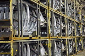 Sterling Heights, Michigan, Car door panels stacked in racks, Sterling Stamping Plant, Fiat Chrysler Automobiles - Jim West - 26-08-2016
