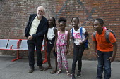Jeremy Corbyn meeting some children at the railway station, leadership election rally, Hanley, Stoke on Trent - John Harris - 01-09-2016