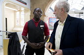 Jeremy Corbyn meeting staff at the railway station, leadership election rally, Hanley, Stoke on Trent - John Harris - 01-09-2016