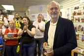 Jeremy Corbyn talking to trade union members, CWU office, leadership election rally, Hanley, Stoke on Trent - John Harris - 01-09-2016