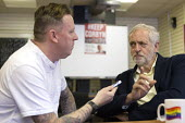 Jeremy Corbyn being interviewed by media, leadership election rally, Hanley, Stoke on Trent - John Harris - 01-09-2016