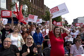 Jeremy Corbyn leadership election rally, Hanley, Stoke on Trent - John Harris - 2010s,2016,adult,adults,campaign,campaigning,CAMPAIGNS,cities,City,Expectant Mother,FEMALE,Labour Party,Left,left wing,Leftwing,Momentum,mother,motherhood,MOTHERING,mothers,PARENT,PARENTING,people,per