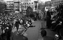 Bishop Trevor Huddleston speaking. Rally in Trafalgar Square, London 1960 launching The Boycott Movement Month of Action to Boycott South Africa and the Apartheid regime. - Alan Vines - 1960,1960s,AAM,activist,activists,against,Anti Apartheid Movement,apartheid,BAME,BAMEs,bigotry,Bishop,BISHOPS,black,BME,bmes,boycott,boycotting,campaign,campaigner,campaigners,campaigning,CAMPAIGNS,DE
