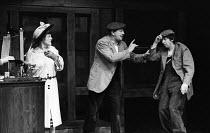 A Pound On Demand, written by Sean O'Casey, Mermaid Theatre, London, 1967. Elizabeth Begley as the Woman, Jack Macgowran as Sammy and Barry Keegan as Jerry. - Patrick Eagar - 06-04-1967