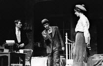 Shadow Of A Gunman written by Sean O'Casey, Mermaid Theatre, London, 1967. Brian Phelan as Donal Davoren, Stephen Rea as Tommy Owens and Shivaun O'Casey, daughter of the playwright Sean O'Casey, as Mi... - Patrick Eagar - 06-04-1967
