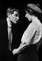Shadow Of A Gunman written by Sean O'Casey, Mermaid Theatre, London, 1967. Brian Phelan as Donal Davoren and Shivaun O'Casey, daughter of the playwright Sean O'Casey, as Minnie Powell - Patrick Eagar - 06-04-1967