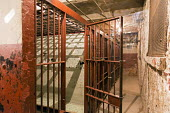 Fort Wayne, Indiana, USA. The History Center. Jail cells in the basement of the former City Hall. The museum is operated by the Allen County Fort Wayne Historical Society - Jim West - 2010s,2016,ACE,Allen County,America,bars,cell,cells,city hall,crime,Culture,Fort Wayne,historic,historical,Historical Society,history,History Center,Indiana,jail,jail cell,jails,museum,MUSEUMS,penal s