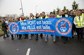 Natacha Bouchart, Calais mayor joins blockade of truckers and farmers demanding Calais Jungle refugee camp closure joined by Port of Calais dockers. France. - Jess Hurd - 05-09-2016