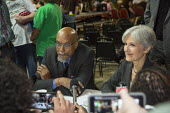 Detroit, Michigan USA Green Party presidential candidate Jill Stein responding to a questions at a press conference with Ajamu Baraka - Jim West - 03-09-2016