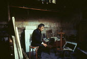 Alberto Giacometti, Swiss sculptor, painter, draughtsman and printmaker at his studio, Paris, 1965 - Romano Cagnoni - 1960s,1965,ACE,Alberto Giacometti,art,artist,artists,arts,artwork,culture,eu,Europe,european,europeans,eurozone,france,french,Giacometti,modern,modernism,modernist,modernists,painter,Painters,Paris,sc