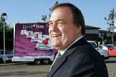 Deputy Prime Minister John Prescott standing in front of a a mobile advert to promote the North-east regional assembly referendum. Sunderland. - Mark Pinder - 09-09-2004