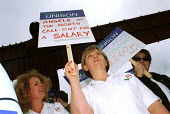 North-eastern student nurses protest at the Angel of the North against bursary payments which they claim gives them salaries equivalent to �2.60 an hour. Gateshead on Tyne, 5/7 2000. - Mark Pinder - 05-07-2000