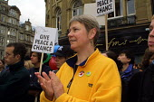 Natfhe president Tina Downs at a Tyneside Coalition against the war march and rally 3/11 2001 - Mark Pinder - 03-11-2001