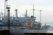 Ghost Ships. Ex US naval ships which have been brought across the Atlantic from America to be broken up by Able UK, Hartlepool - Mark Pinder - 16-12-2003