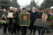 Georgian supporters of Joseph Stalin congregate on the 21st of December every year to commemorate the late dictators birthday in Stalins home town of Gori about 50 miles west of the Georgian capital T... - Mark Pinder - 2000s,2005,birthplace,capital,CCCP,communism,communist party,communists,cult of personality,dictator,dictatorship,Georgian,home,POL politics,Russian,soviet union,stalinism,stalinist,supporters,USSR