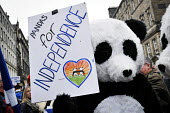 Independence For Scotland march and rally Edinburgh. A pair of pro independence Pandas referencing Tian Tian and her male companion Yang Guang the Edinburgh Zoo Panda's. - Mark Pinder - 21-09-2013