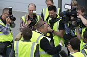 Mike Ashley talking to media as he gives a tour of Sports Direct warehouse, Shirebrook, Derbyshire - John Harris - 2010s,2016,boss,bosses,camera,cameras,communicating,communication,conversation,dialogue,EBF,Economic,Economy,employee,employees,Employment,filming,job,jobs,journalism,journalist,journalists,LBR,male,m